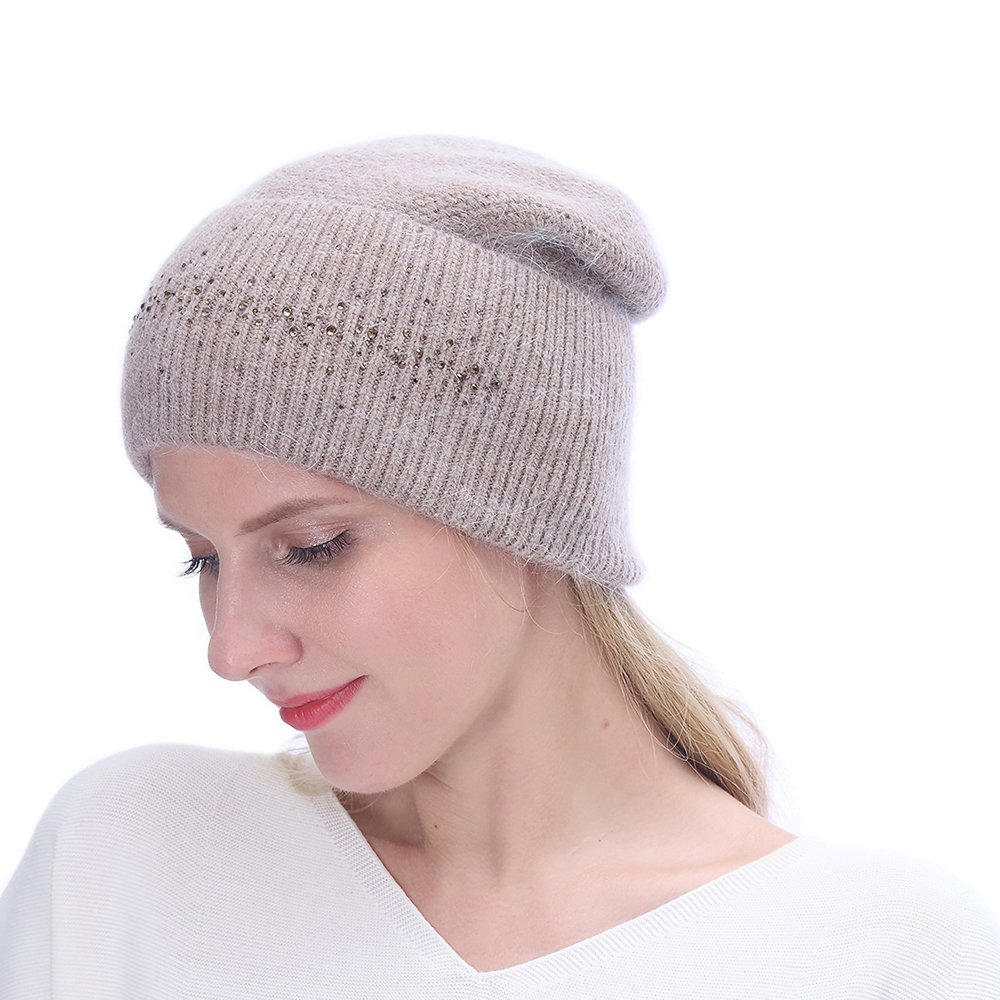 URSFUR Winter Knitted Baggy Beanies Hat with Rhinestones for Lady- Warm Double Slouchy Cap,Camel