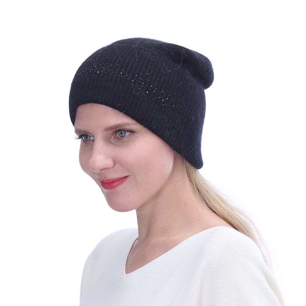 URSFUR Winter Knitted Baggy Beanies Hat with Rhinestones for Lady- Warm Double Slouchy Cap,Black