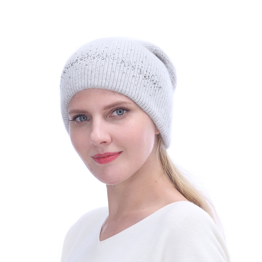 URSFUR Winter Knitted Baggy Beanies Hat with Rhinestones for Lady Warm Double Slouchy Cap,Light Grey