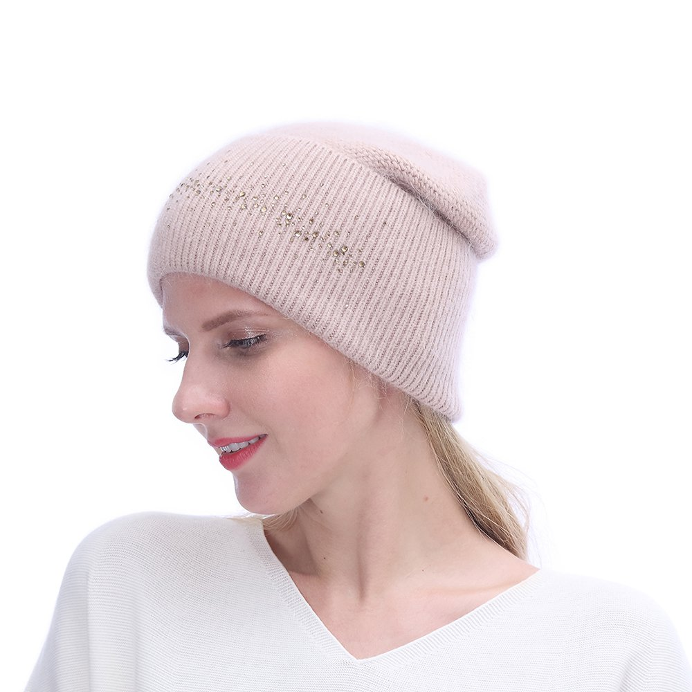 URSFUR Winter Knitted Baggy Beanies Hat with Rhinestones for Lady- Warm Double Slouchy Cap,Pink