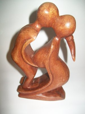 Carved Wooden Kissing Couple ART DECO Original