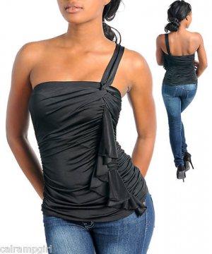 Black One shoulder top shirt Size S M L