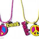 Set of 2 Best Friend Necklaces Peace Sign
