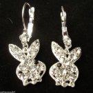 Playboy Bunny Earrings clear crystal stones
