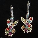 Playboy Bunny Earrings Rainbow crystal stones
