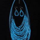 BLUE BEADED LAYERED BIB NECKLACE EARRINGS SET