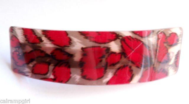 Red Animal Print Transparent Hair clip Barrette