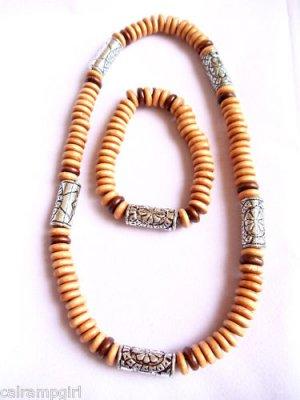 Surfer Style Beaded Necklace bracelet set tan wood