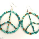 Turquoise Seed Beaded Peace Sign Earrings