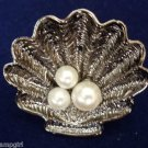 Sea Shell cocktail Ring antique silver white pearls