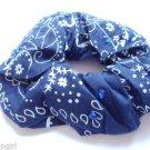 Navy Blue Bandana Hair Scrunchie with gemstones