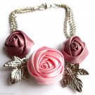 Satin Roses flower Bracelet With Silver Leaves Pink and Mauve