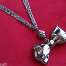 Antique Silver Bow Necklace Multi Chain Design