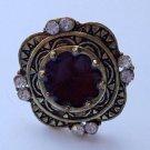 Burnished antique gold brown square Ring adjustable