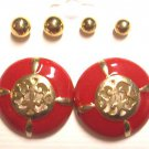 Red Gold round Earrings 3 Pairs