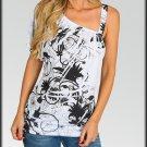 Cold Shoulder Sublimation Tunic Shirt top Size M L