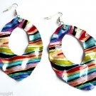 Metal Rainbow Striped Print Fashion Design Earrings