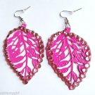 Pink Metal Leaf Earrings Rhinestones