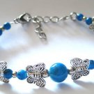 Antique Silver Butterfly Turquoise Bracelet