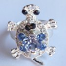 Silver Turtle Ring adjustable band Blue crystals