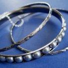Gray Pearl Bangle Bracelets Set of 3 Antique Silver