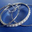 Pearl Bangle Bracelets Set of 3 Silver