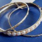 Pearl Bangle Bracelets Set of 3 Gold