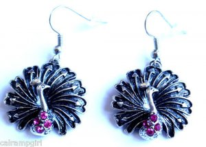 Silver Peacock Earrings Pink Crystal stones