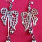 Antique Silver Bow Earrings Dangling balls