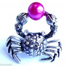 Silver Crab Cocktail Ring adjustable band Pink pearl
