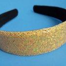 """Gold Sequins Glitter headband 1"""" Wide"""