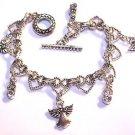 Angel Charm Bracelet silver Heart Linked Toggle