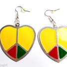 "2"" Heart Metal Rasta Earrings Peace Sign"