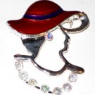 Red Hat Pin Brooch Silver crystal stones