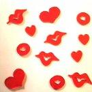 Valentines Day Gel Window Clings hearts lips