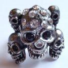 Silver Skulls Cocktail Ring adjustable band crystal stones Biker