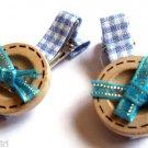 Blue Plaid Buttons Salon hair Clip set 2 Claws