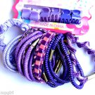 Mixed Pack Ponytail holders and mini Jaw clips Purple