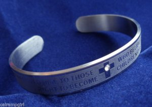Silver Religious Cuff Bracelet Christian John 1:12 Bible Verse crystal stone