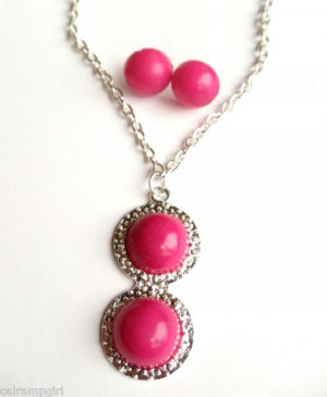 Pink Marble Silver Necklace Earrings set