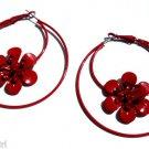 Red Flower Metal Hoop Earrings