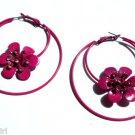 Pink Flower Metal Hoop Earrings