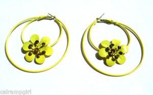 Yellow Flower Metal Hoop Earrings