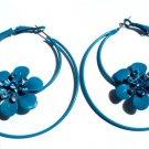 Blue Flower Metal Hoop Earrings