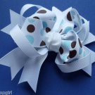 Polka Dot Print Bow White blue Brown Barrette hair clip