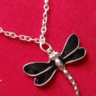 Black Silver Dragonfly Necklace