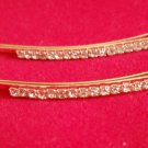 clear Crystal Barrette Bobby Pins set of 2 gold