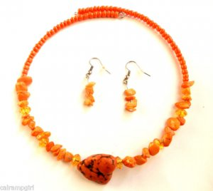 Orange marble semi precious Stone Choker Earrings