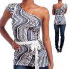 Gray Pink One Shoulder designer top shirt Size S M L