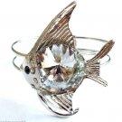 Silver Fish Bracelet Cuff Clear Glass Prism